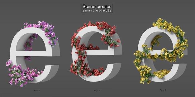 3d rendering of creeping bougainvillea on alphabet e