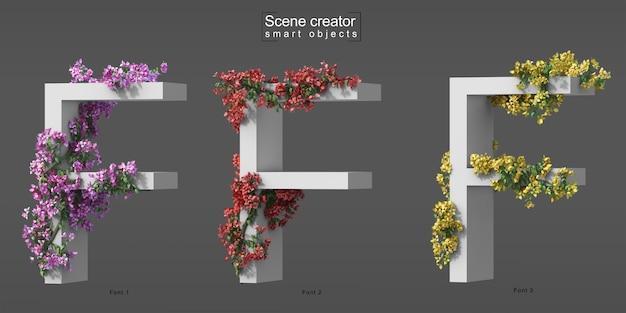 3d rendering of creeping bougainvillea on alphabet f