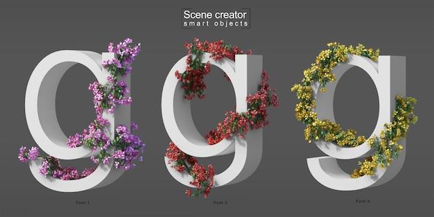 3d rendering of creeping bougainvillea on alphabet g