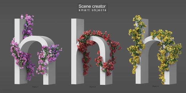 3d rendering of creeping bougainvillea on alphabet h