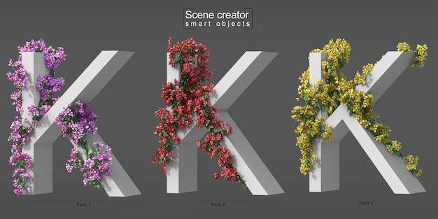3d rendering of creeping bougainvillea on alphabet k