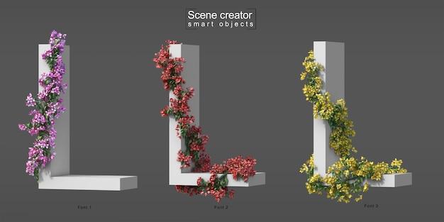 3d rendering of creeping bougainvillea on alphabet l