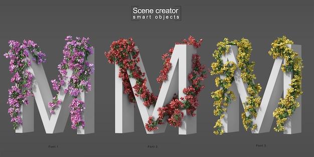 3d rendering of creeping bougainvillea on alphabet m