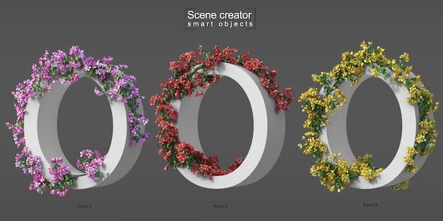 3d rendering of creeping bougainvillea on alphabet o