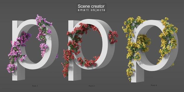 3d rendering of creeping bougainvillea on alphabet p