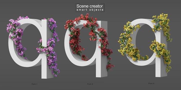 3d rendering of creeping bougainvillea on alphabet q