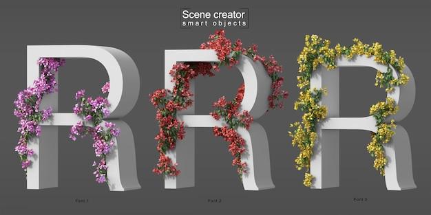 3d rendering of creeping bougainvillea on alphabet r