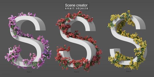 3d rendering of creeping bougainvillea on alphabet s
