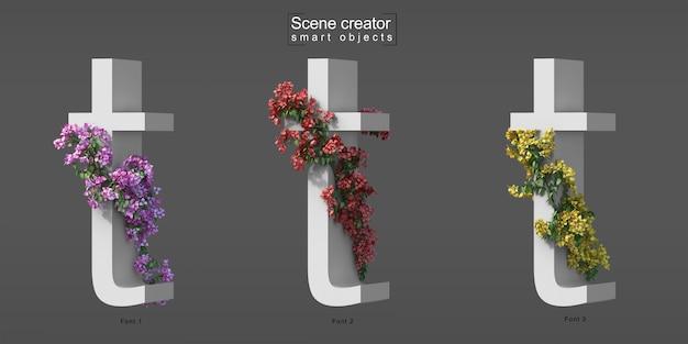 3d rendering of creeping bougainvillea on alphabet t