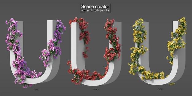 3d rendering of creeping bougainvillea on alphabet u