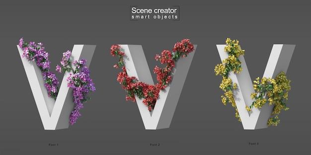 3d rendering of creeping bougainvillea on alphabet v