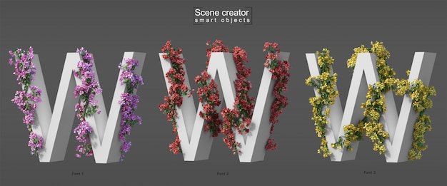 3d rendering of creeping bougainvillea on alphabet w