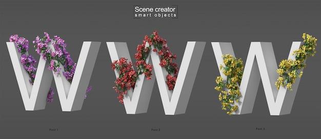 3d rendering of creeping bougainvillea on alphabet w