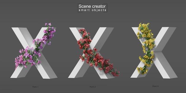 3d rendering of creeping bougainvillea on alphabet x