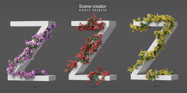 3d rendering of creeping bougainvillea on alphabet z