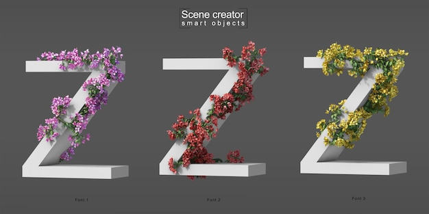 3d rendering of creeping bougainvillea on alphabet z