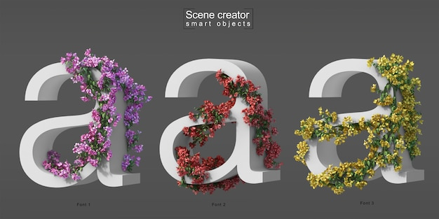 3d rendering of creeping bougainvillea on alphabet a