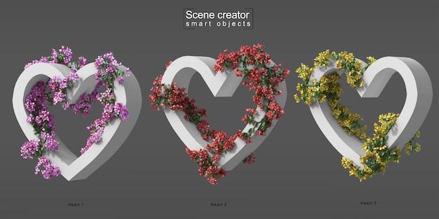 3d rendering of creeping bougainvillea on heart shape