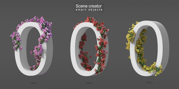 3d rendering of creeping bougainvillea on number 0