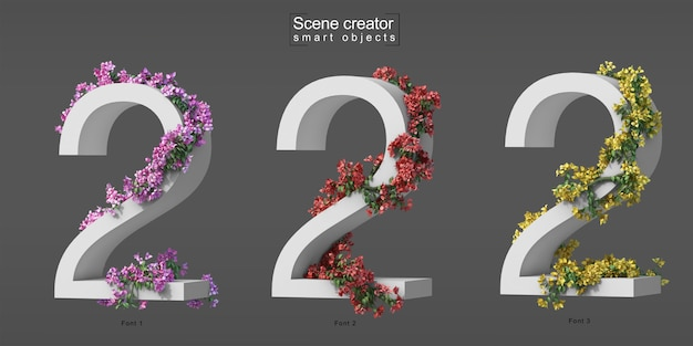 3d rendering of creeping bougainvillea on number 2