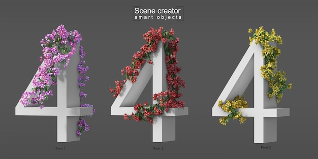 3d rendering of creeping bougainvillea on number 4