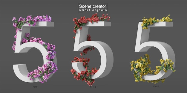 3d rendering of creeping bougainvillea on number 5