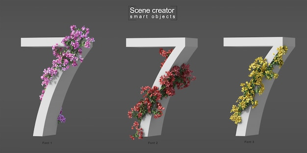 3d rendering of creeping bougainvillea on number 7