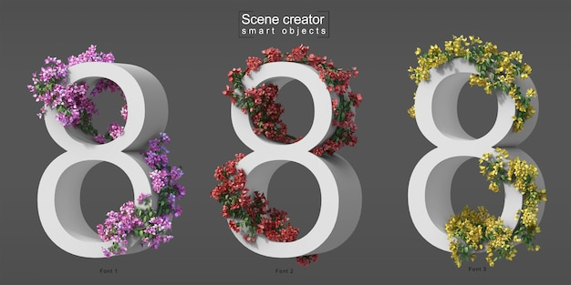 3d rendering of creeping bougainvillea on number 8