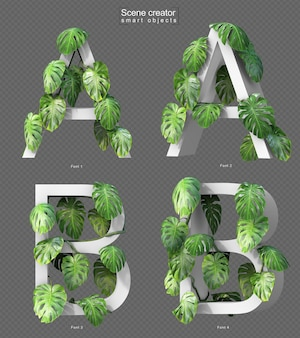 3d rendering of creeping monstera on alphabet a and alphabet b
