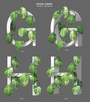 3d rendering of creeping monstera on alphabet g and alphabet h