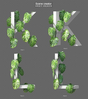 3d rendering of creeping monstera on alphabet k and alphabet l