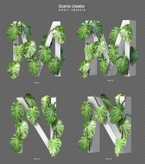 3d rendering of creeping monstera on alphabet m and alphabet n