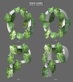 3d rendering of creeping monstera on alphabet o and alphabet p