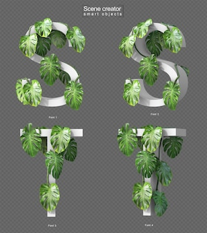 3d rendering of creeping monstera on alphabet s and alphabet t