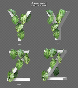 3d rendering of creeping monstera on alphabet y and alphabet z