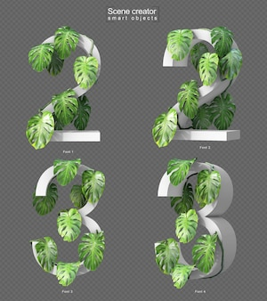 3d rendering of creeping monstera on number 2 and number 3