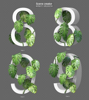 3d rendering of creeping monstera on number 8 and number 9