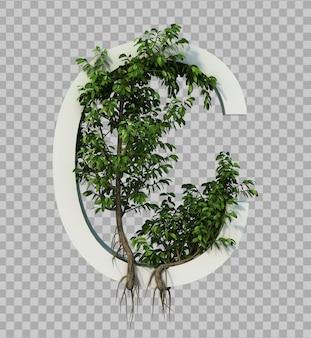 3d rendering of creeping tree on alphabet c