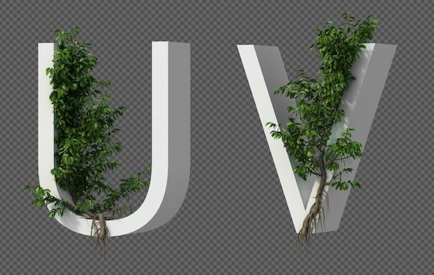 3d rendering of creeping tree on alphabet u and alphabet v