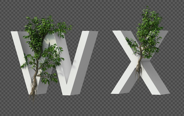 3d rendering of creeping tree on alphabet w and alphabet x