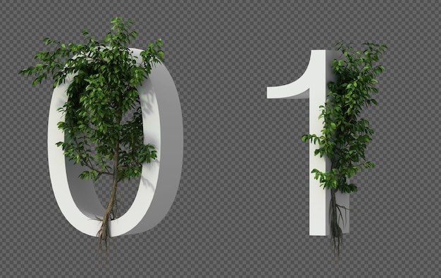 3d rendering of creeping tree on number 0 and number 1