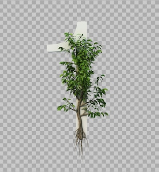 3d rendering of creeping tree on number 1