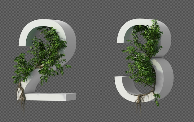 3d rendering of creeping tree on number 2 and number 3