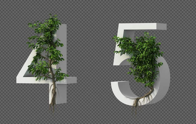 3d rendering of creeping tree on number 4 and number 5
