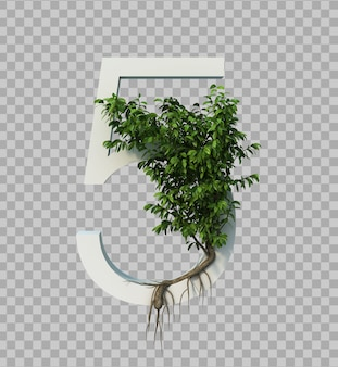 3d rendering of creeping tree on number 5