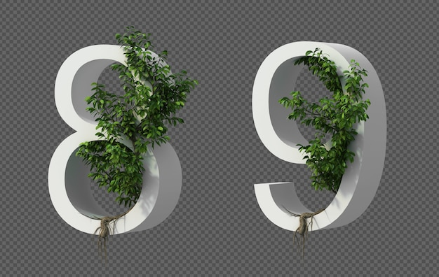 3d rendering of creeping tree on number 8 and number 9