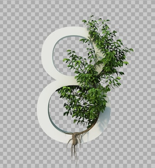 3d rendering of creeping tree on number 8