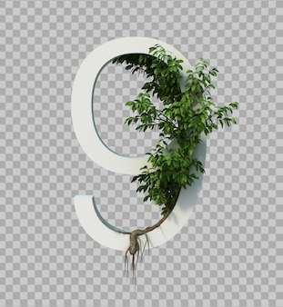 3d rendering of creeping tree on number 9