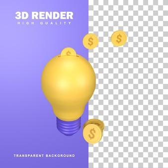 電球にお金を入れることによる3dレンダリングクラウドファンディングのコンセプト。