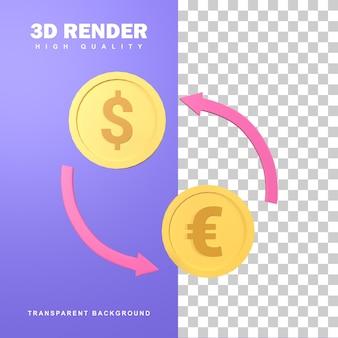 Обмен валюты 3d-рендеринга от евро к доллару.